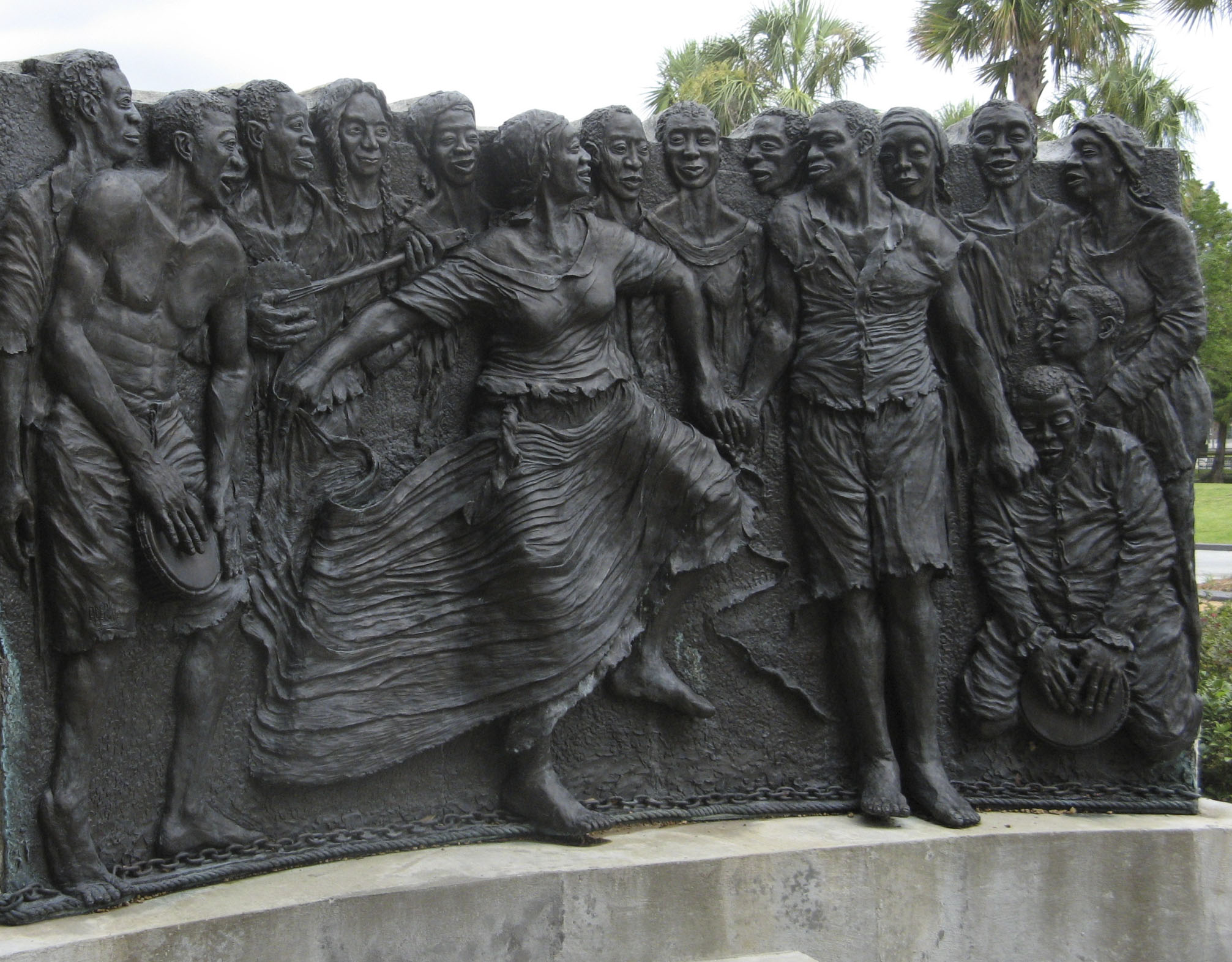 """Congo Square,"" sculpture by Adewale S. Adenle, New Orleans, 2010. Louisiana slave families gathered on Sundays to sing, dance, and drum in the West African style."