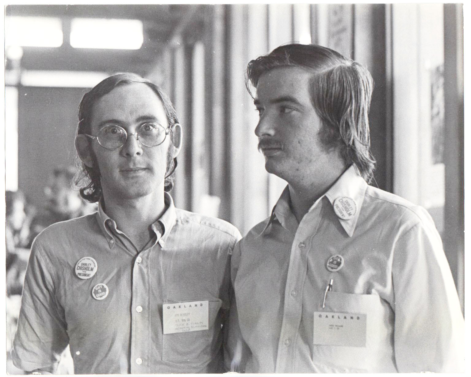 "Ron Bentley and Gary Miller (AKA ""Chris Gordon"" and ""Jerry Mills"") working on the 1972 presidential campaign of Shirley Chisholm. Photo used with permission of Gary Miller."