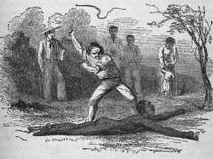 """Flogging a slave fastened to the ground,"" by George Bourne (1853), published in ""Five hundred thousand strokes for freedom: a series of anti-slavery tracts"" by Wilson Armistead, public domain (1853)."
