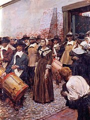 Painting by Howard Pyle, of Mary Dyer being led to the gallows (public domain), painted circa 1905.