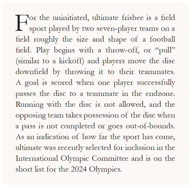 Brief description of Ultimate Frisbee.