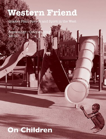 Magazine cover with image of hungry child and playground