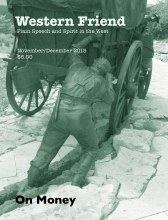 Magazine cover with photo of statue of wagon train