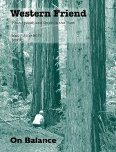 Magazine cover with image of woman in redwood grove