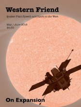 Magazine cover with image of spacecraft in front of the sun
