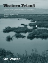 Magazine cover with image egret in marshy bay