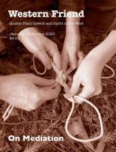 Magazine cover showing four hands tying a rope knot together